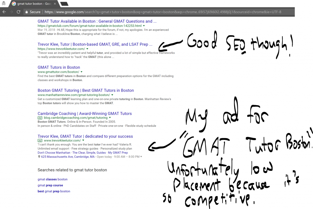 Adwords are an important part of how I market my tutoring. This picture shows my ad for GMAT tutor Boston.