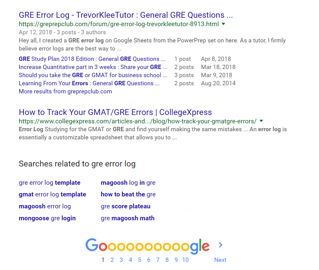 "Peripheral products are a great way to market yourself as a tutor. this is the Google search results for ""gre error log"", which I use to market myself"