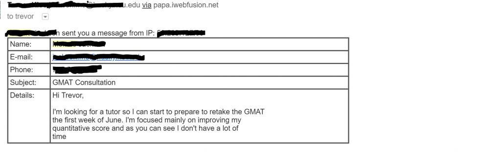 An inbound sales process, like the tutoring sales process, starts with a contact from a client. This is a typical first email from a tutoring client.