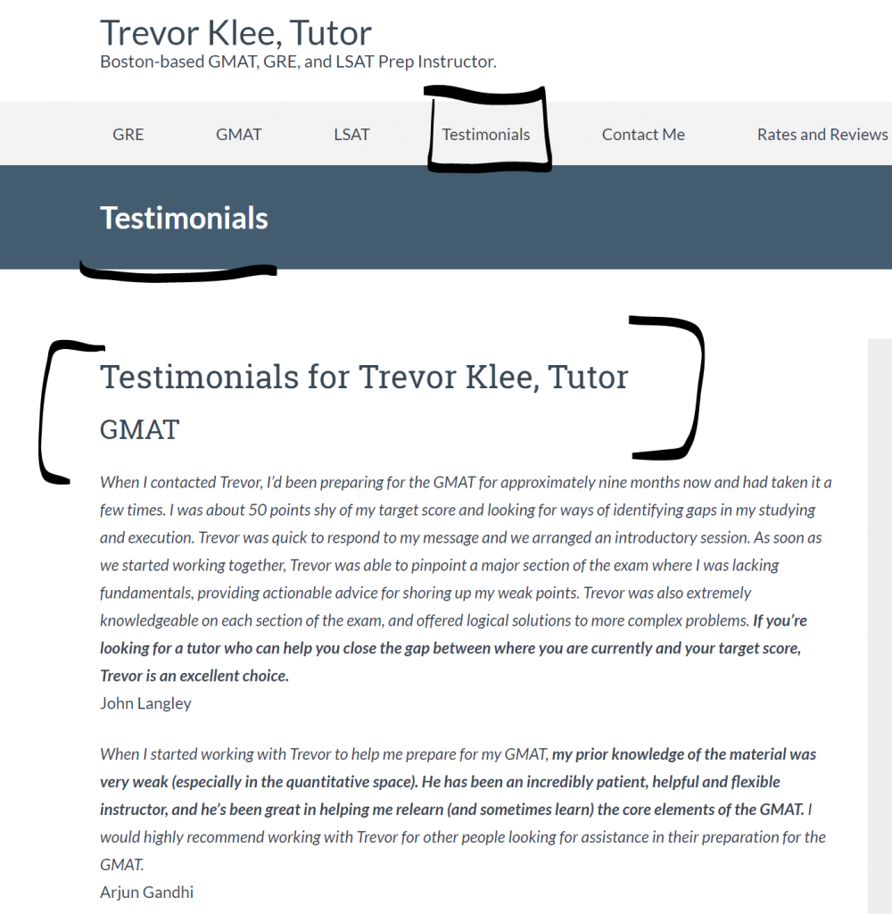I have an entire page on my website for testimonials as social proof of my tutoring
