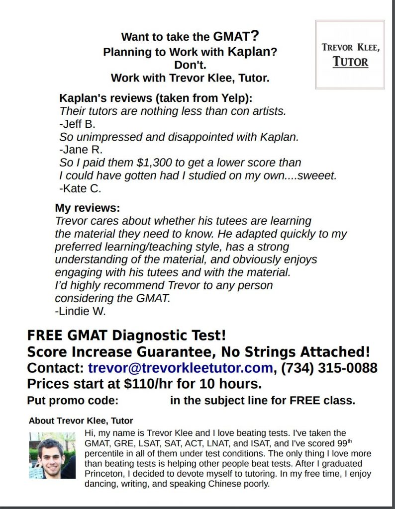 I tried lots of ways to market my tutoring. Flyers were one, and this is a picture of a flyer which didn't work to get me clients.